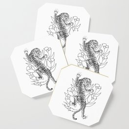 A Tiger and Some Tulips Coaster