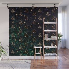 Leo Golden Zodiac Constellation Design Wall Mural