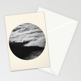 Intense Fog & Mountain Silhouette Black & White Round Photo Stationery Cards