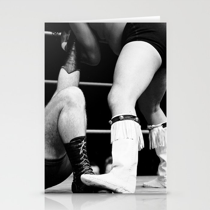 wrestling boots Stationery Cards