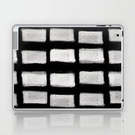 Brush Strokes Horizontal Lines Off White on Black Laptop & iPad Skin