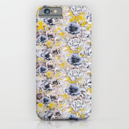 Gray Yellow Watercolor Floral iPhone Case