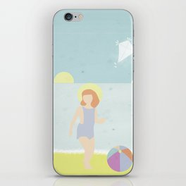 Girl at the beach with kite and ball in the 1950's vintage iPhone Skin