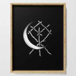 Crescent Moon Rune Binding in Black Serving Tray
