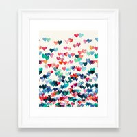 hearts Framed Art Prints featuring Heart Connections - watercolor painting by micklyn