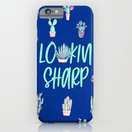 Lookin' sharp Cactus pattern - blue iPhone Case
