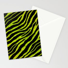 Ripped SpaceTime Stripes - Yellow/Lime Stationery Cards