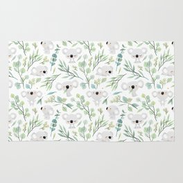 Koala and Eucalyptus Pattern Rug