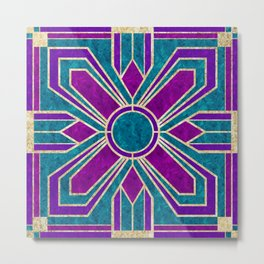 Art Deco Floral Tiles in Fuchsia, Teal and Purple Metal Print