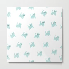 Cute mint hand drawn mouse pattern Metal Print