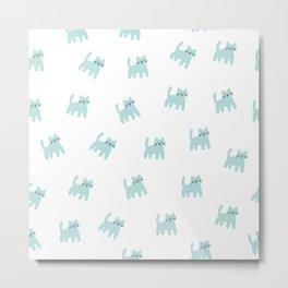 Cute mint hand drawn mouse pattern Metal Print