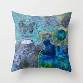Blue - Green Collage July 2020 Throw Pillow