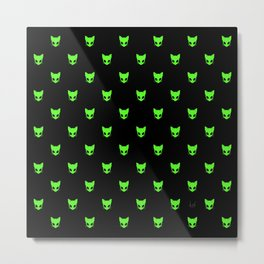 Aliencat black background in vector style Metal Print