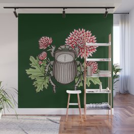 Beetle with Chrysanthemum - Dark Green Wall Mural