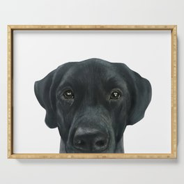 Labrador New, Acrylic painting by miart Serving Tray