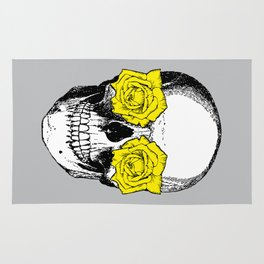 Skull and Roses | Grey and Yellow Rug