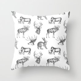 Woodland Critters in Dark Grey Throw Pillow