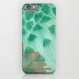 Teal Fans and Feather iPhone Case
