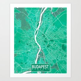 Budapest City Map of Hungary - Watercolor Art Print