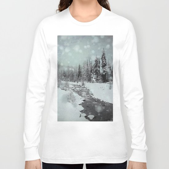 Blue Winter Landscape Long Sleeve T-shirt