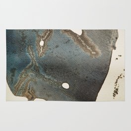 Abstract map blue and black ink drawing Rug