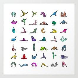 Rainbow Yoga Poses Art Print