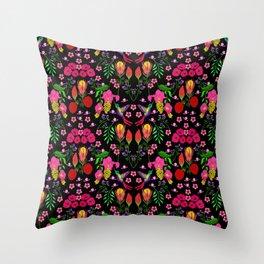 Little Birdies with Florals Throw Pillow