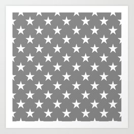STARS DESIGN (WHITE-GREY) Art Print