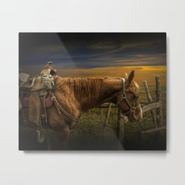 Saddle Horse on the Prairie Metal Print