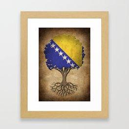 Vintage Tree of Life with Flag of Bosnia - Herzegovina Framed Art Print