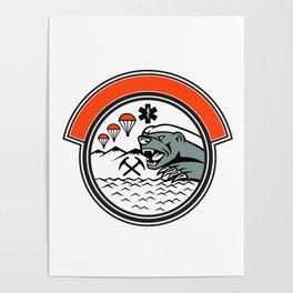 Sea Air Mountain Rescue Honey Badger Mascot Poster