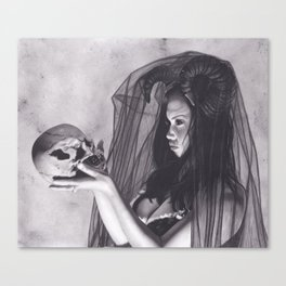 Realism Charcoal Drawing of Sexy Dark Queen in Veil with Skull Canvas Print