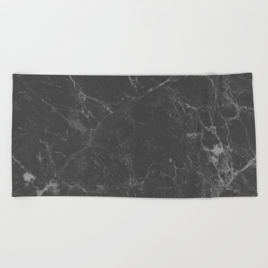 Marble Black Gray White Beach Towel