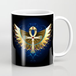 Gold Ankh with Wings Coffee Mug