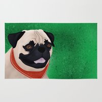 pug Area & Throw Rugs featuring Pug by Nir P