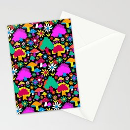 60's Funky Forest in Black Stationery Cards