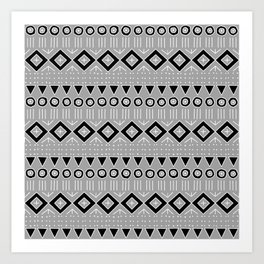 Bohemian Mudcloth Style 2 in Gray and Black Art Print