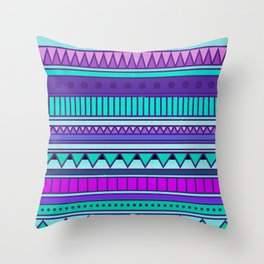 Colorful Purple Mint Turquoise Cute Girly Urban Tribal Geometric Aztec Pattern Throw Pillow