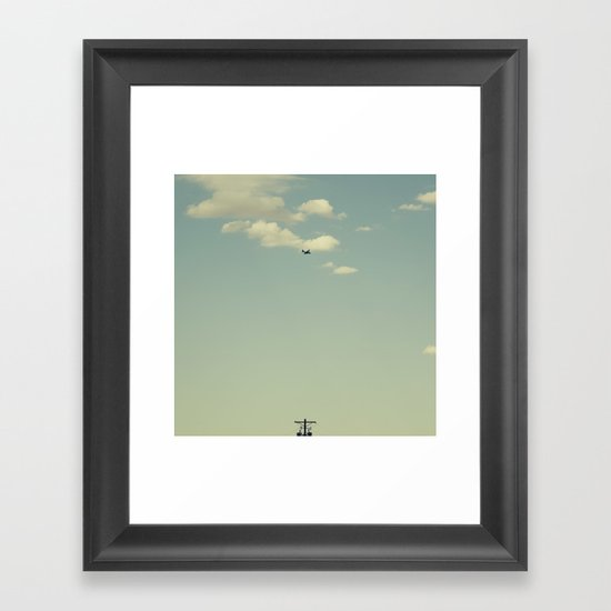 Airplane, Telephone Pole Arrangement Framed Art Print