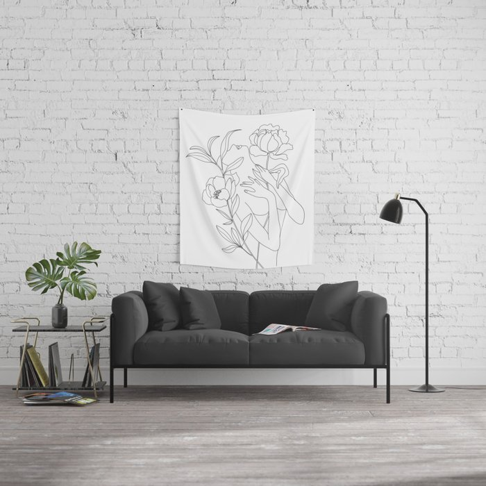 Minimal Line Art Woman with Peonies Wall Tapestry