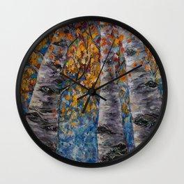 Aspen Trees by OLena Art Wall Clock