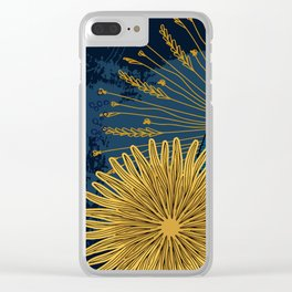 Navy floral background Clear iPhone Case