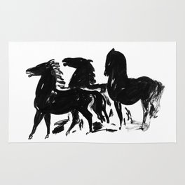 Black and White Horse Print Rug