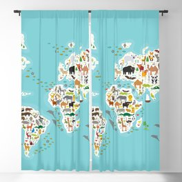 Cartoon animal world map for children and kids, Animals from all over the world Blackout Curtain