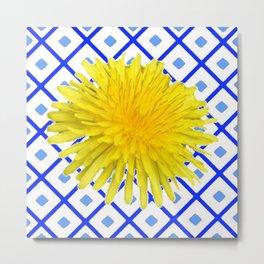 Yellow Dandelion Flower On Delft Blue Tile Metal Print