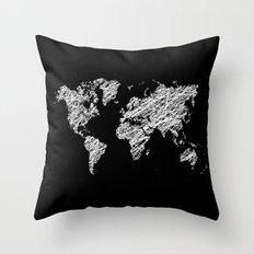 Invert scribble world map Throw Pillow