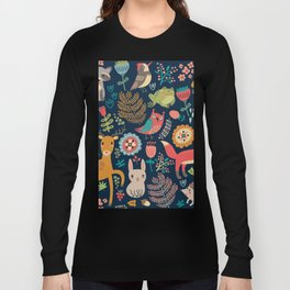 Blue Woodland Critters Pattern Long Sleeve T-shirt