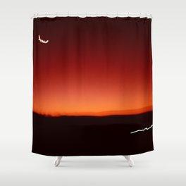 Night Lights Sunset and Moon Shower Curtain