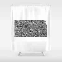 kansas Shower Curtains featuring Typographic Kansas by CAPow!
