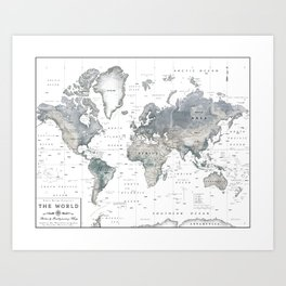 The World [Black and White Relief Map] Art Print